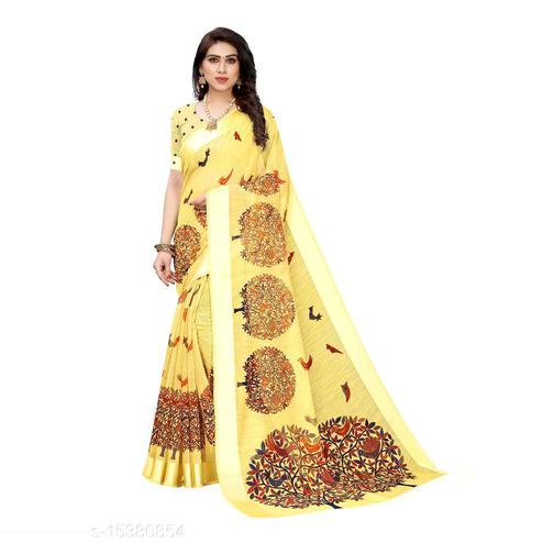 Dazzling Yellow Colored Casual Wear Printed Linen Saree