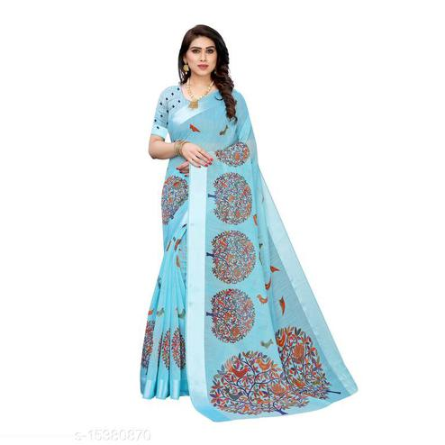 Staring Blue Colored Casual Wear Printed Linen Saree