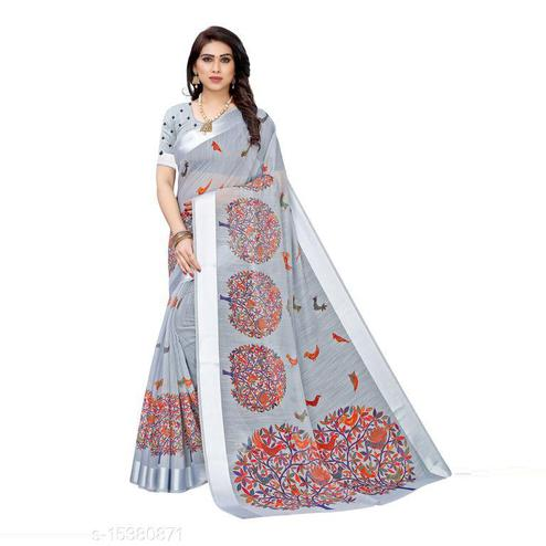 Ravishing Grey Colored Casual Wear Printed Linen Saree