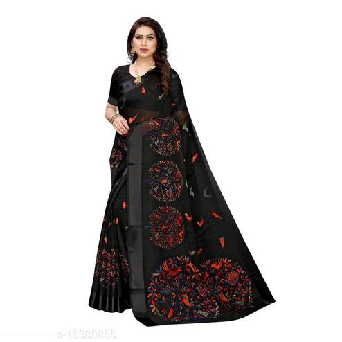 Ethnic Black Colored Casual Wear Printed Linen Saree