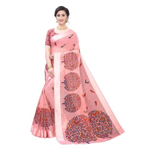 Breathtaking Pink Colored Casual Wear Printed Linen Saree