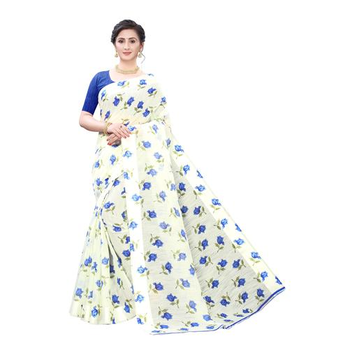 Pleasance Off White Colored Casual Wear Floral Printed Linen Saree