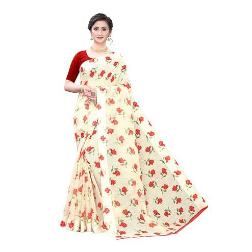 Mesmerising Cream Colored Casual Wear Floral Printed Linen Saree