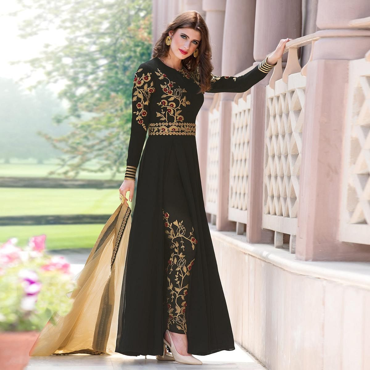 Graceful Black Colored Designer Embroidered Partywear Georgette Abaya Style Anarkali Suit