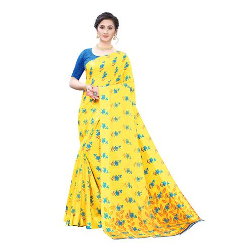 Majesty Yellow-Blue Colored Casual Wear Floral Printed Linen Saree