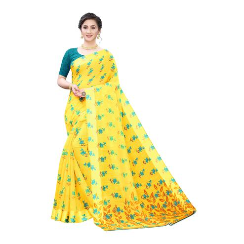 Imposing Yellow-Turquoise Colored Casual Wear Floral Printed Linen Saree