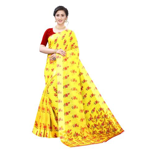 Ideal Yellow-Red Colored Casual Wear Floral Printed Linen Saree