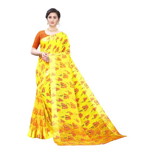 Blissful Yellow-Orange Colored Casual Wear Floral Printed Linen Saree
