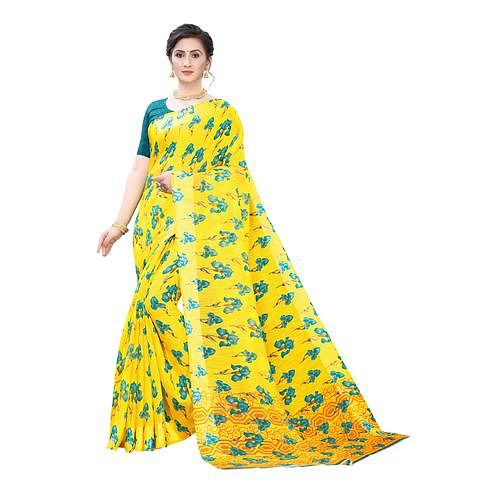Gorgeous Yellow-Turquoise Colored Casual Wear Floral Printed Linen Saree