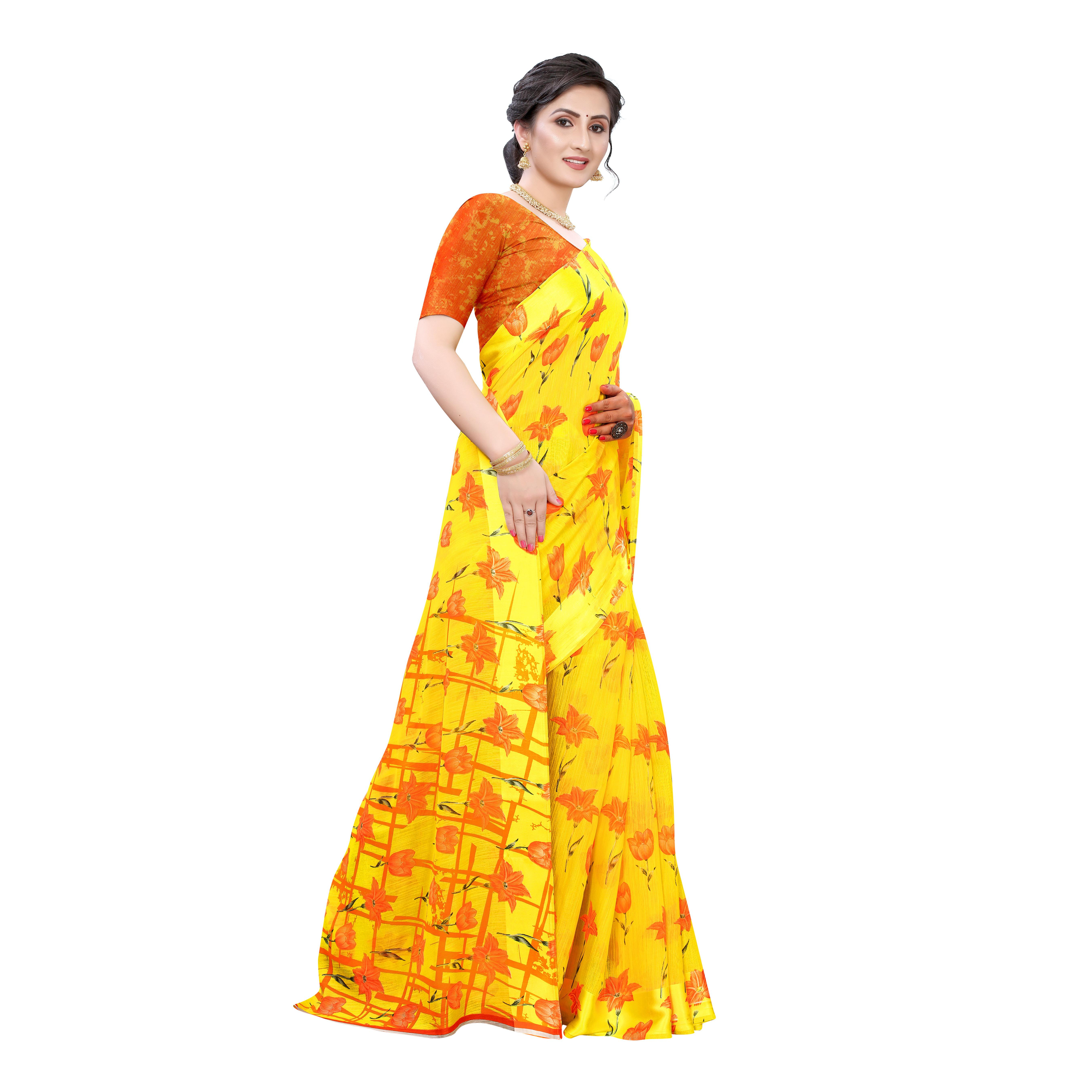 Amazing Yellow-Orange Colored Casual Wear Floral Printed Linen Saree