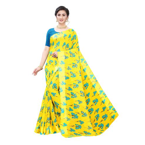 Fantastic Yellow-Blue Colored Casual Wear Floral Printed Linen Saree