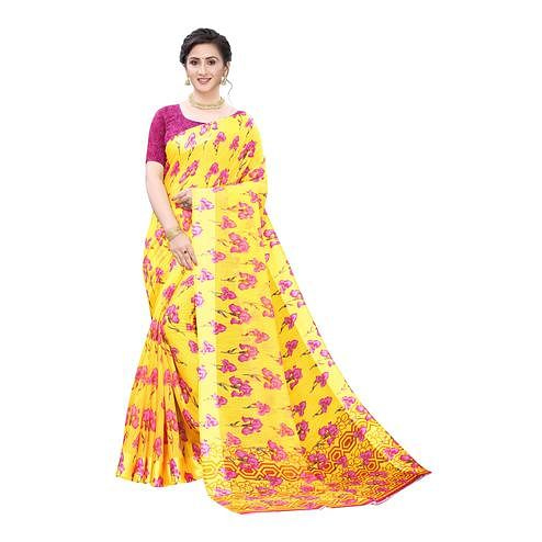 Eye-catching Yellow-Pink Colored Casual Wear Floral Printed Linen Saree