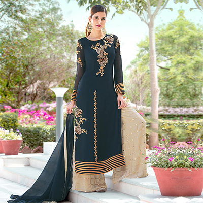 Attractive Teal Green Colored Designer Embroidered Partywear Georgette Palazzo Suit
