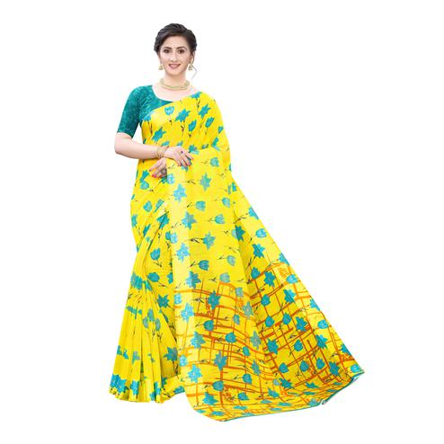 Innovative Yellow-Blue Colored Casual Wear Floral Printed Linen Saree