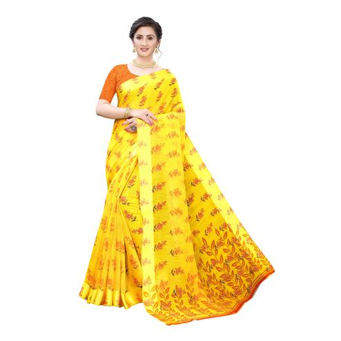 Captivating Yellow-Orange Colored Casual Wear Floral Printed Linen Saree