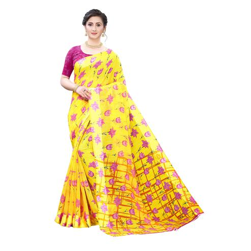 Engrossing Yellow-Pink Colored Casual Wear Floral Printed Linen Saree
