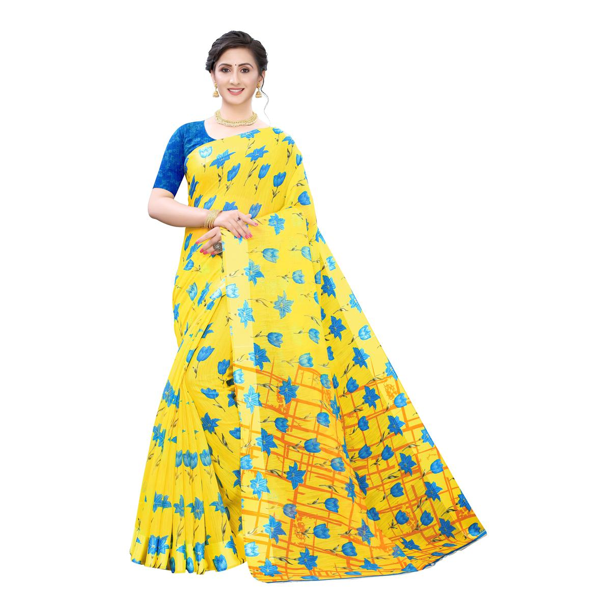 Ravishing Yellow-Blue Colored Casual Wear Floral Printed Linen Saree