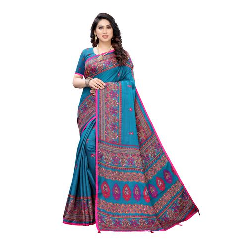 Charming Turquoise Colored Party Wear Printed Linen Saree