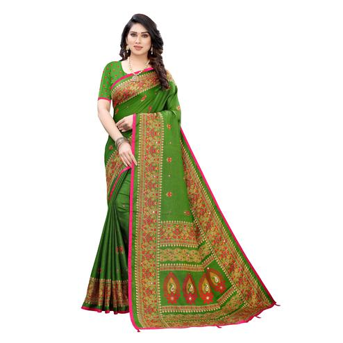Energetic Green Colored Party Wear Printed Linen Saree