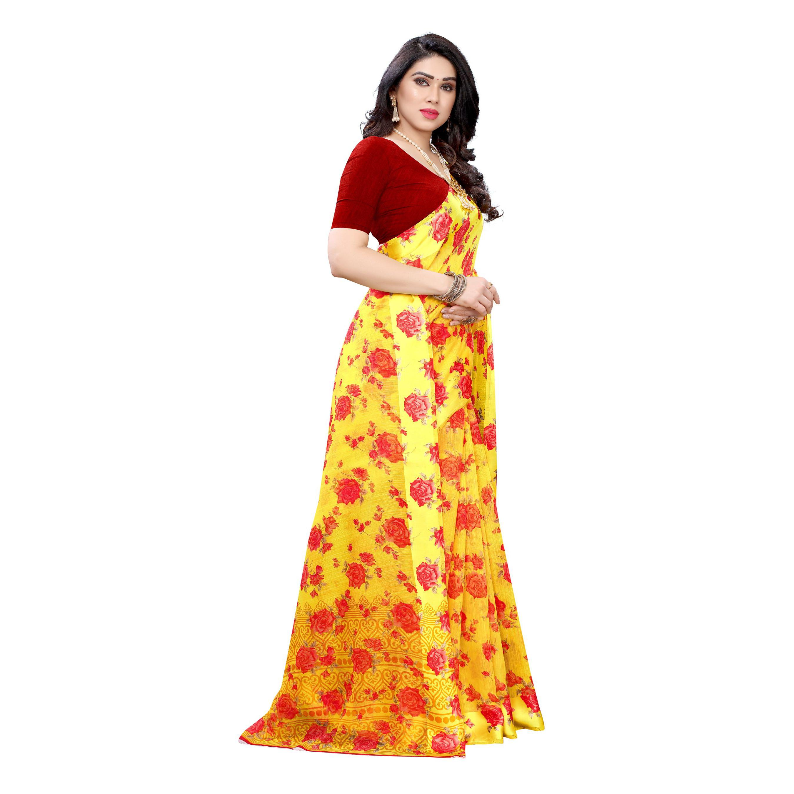 Glowing Yellow-Red Colored Casual Wear Floral Printed Linen Saree