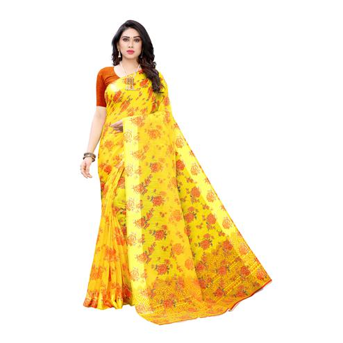 Gleaming Yellow-Orange Colored Casual Wear Floral Printed Linen Saree