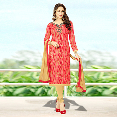Gorgeous Pink Colored Designer Print With Bead And Stone Worked Cotton Dress Material