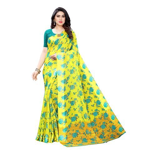 Mesmeric Yellow-Turquoise  Colored Casual Wear Floral Printed Linen Saree