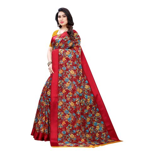 Demanding Red Colored Casual Wear Floral Printed Linen Saree