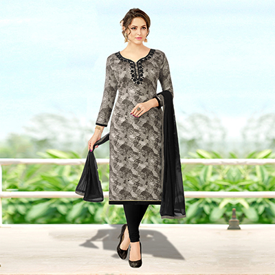 Mesmerising Gray Colored Designer Print With Bead And Stone Worked Cotton Dress Material