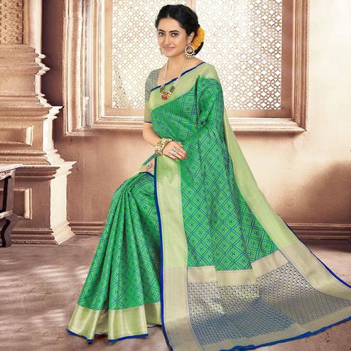 Sensational Green Colored Festive Wear Woven Banarasi Silk Saree