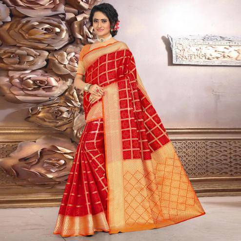 Flaunt Red Colored Festive Wear Woven Banarasi Silk Saree