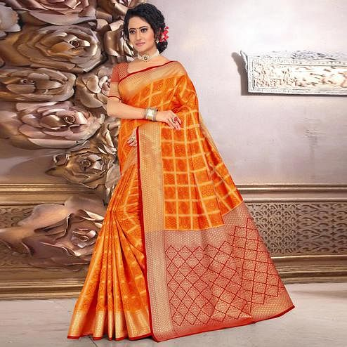 Stunning Orange Colored Festive Wear Woven Banarasi Silk Saree