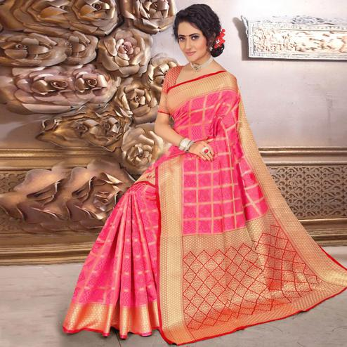 Flirty Pink Colored Festive Wear Woven Banarasi Silk Saree