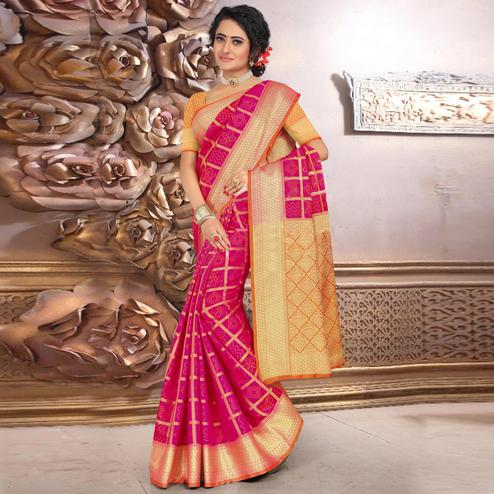 Prominent Dark Pink Colored Festive Wear Woven Banarasi Silk Saree