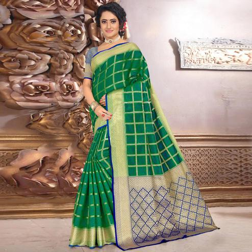 Exclusive Green Colored Festive Wear Woven Banarasi Silk Saree