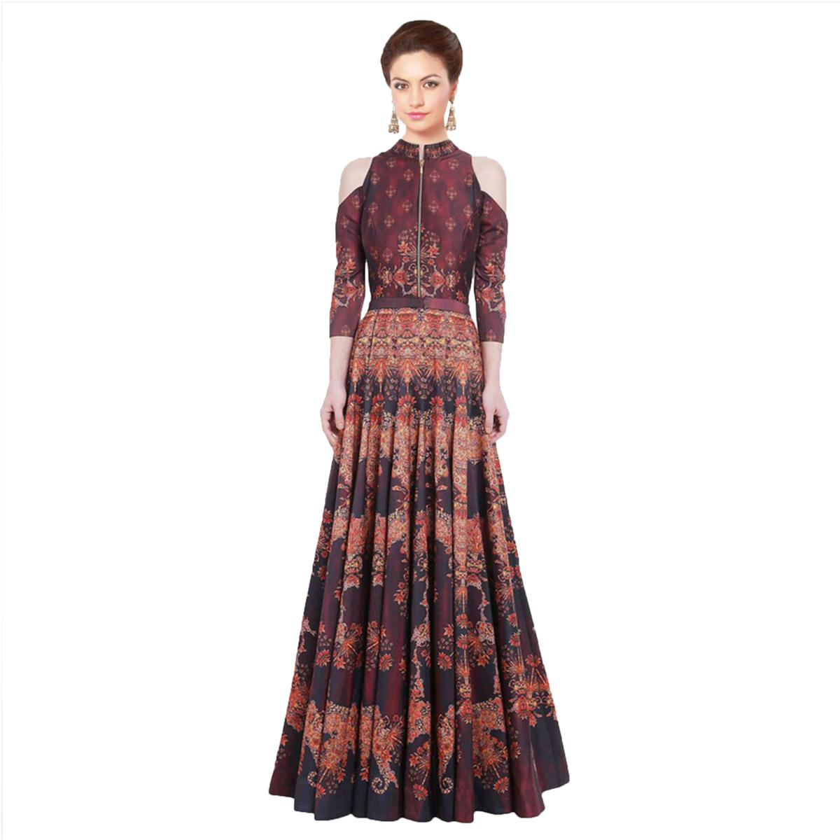 Maroon - Beige Party Wear Stitched Gown