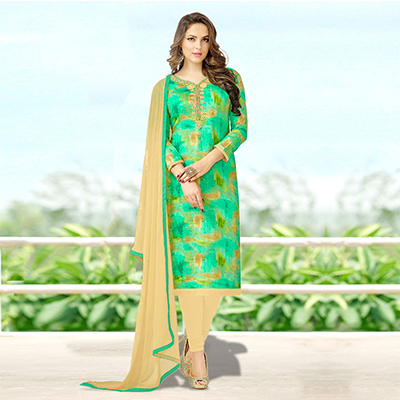 Graceful Green Colored Designer Print With Bead And Stone Worked Cotton Dress Material