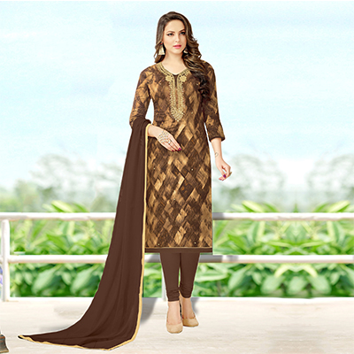 Attractive Brown Colored Designer Print With Bead And Stone Worked Cotton Dress Material