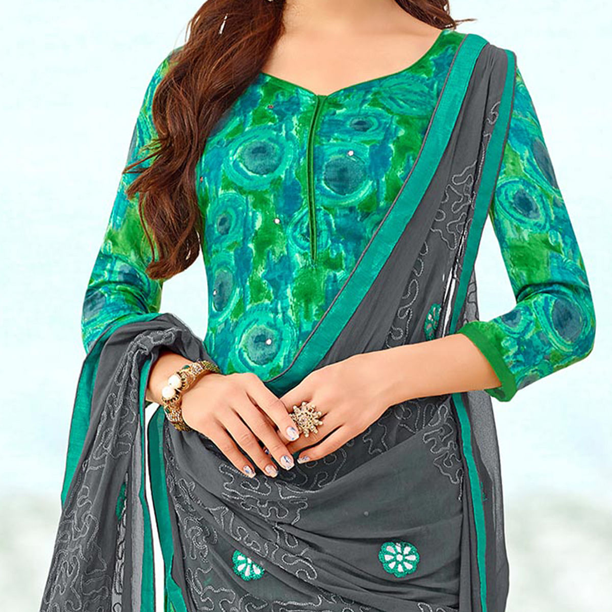 Charming Green Colored Designer Print With Mirror Effect Cotton Dress Material