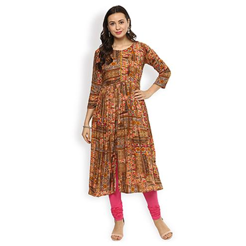 Beautiful Multi Color Printed Designer Pure Rayon Kurti
