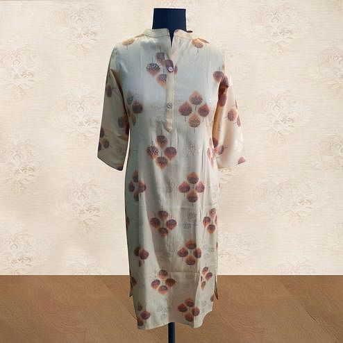 Classy Pastel Yellow Colored Casual Wear Printed Cotton Kurti