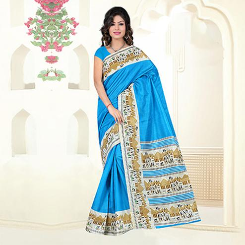 Blue Casual Wear Bhagalpuri Silk Saree