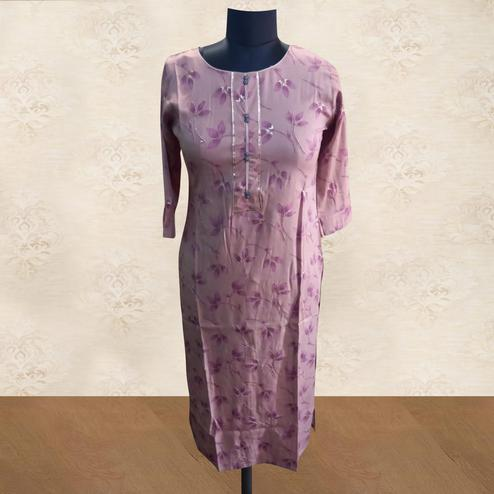 Exclusive Pink Colored Casual Wear Printed Cotton Kurti