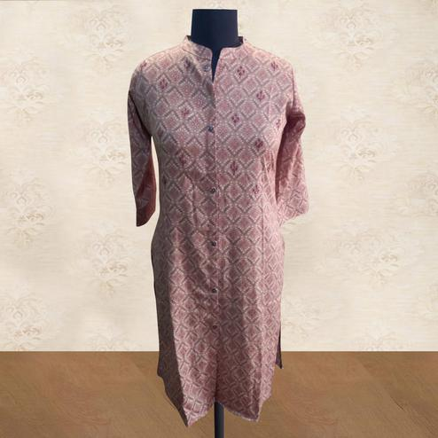 Capricious Light Peach Colored Casual Wear Printed Cotton Kurti