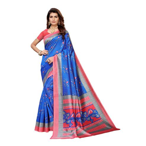 Exotic Blue Colored Casual Wear Printed Art Silk Saree