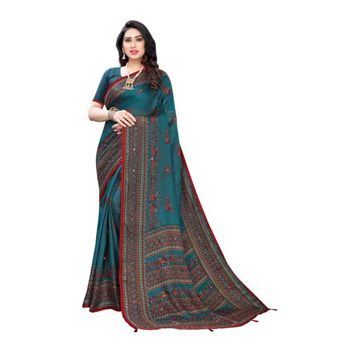 Sophisticated Turquoise Colored Party Wear Printed Linen Saree