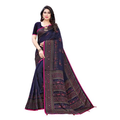 Trendy Blue Colored Party Wear Printed Linen Saree