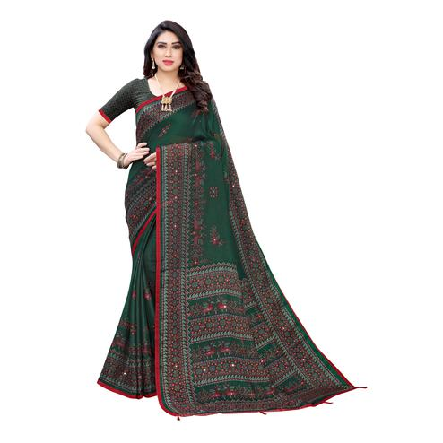 Elegant Green Colored Party Wear Printed Linen Saree
