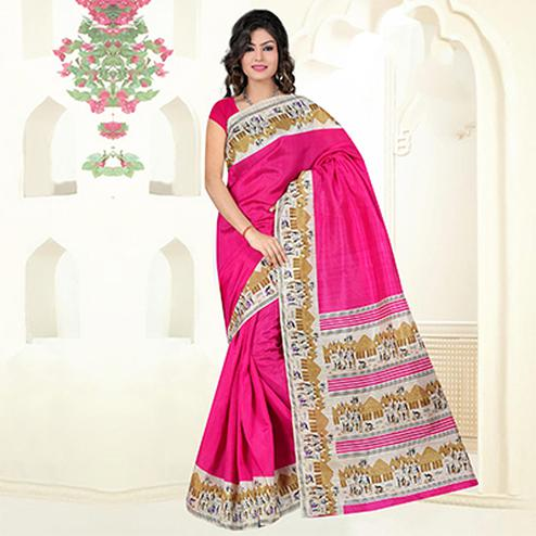 Pink Casual Wear Bhagalpuri Silk Saree
