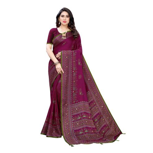 Radiant Purple Colored Party Wear Printed Linen Saree
